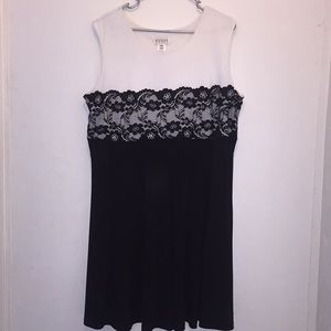 White and Black Lacy Plus Size Dress